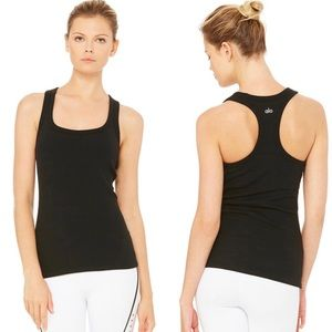 Alo Rib Support Tank Top Racerback With Bra Black